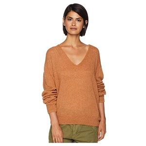 Free People Gossamer V-Neck Sweater Terracotta XS